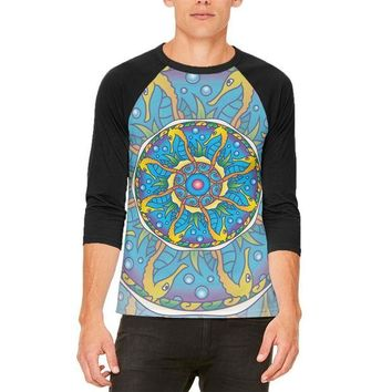 LMFCY8 Mandala Trippy Stained Glass Seahorse Mens Raglan T Shirt
