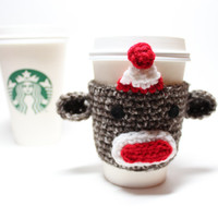 Sock Monkey Coffee Cozy, Crochet Coffee Sleeve, Monkey Can Cozy, Koozie, Starbucks Sleeve