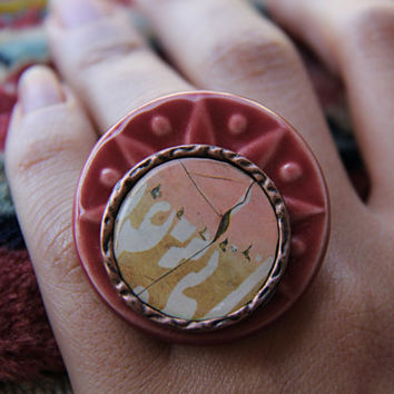 Persian Calligraphy Ring on Copper and Ceramic