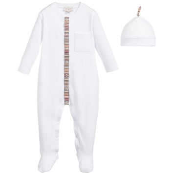 Paul Smith Baby White Onesuit & Hat Set