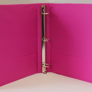"1.5"""" Basic 3-Ring Binder w/ Two Inside Pockets - Fuchsia Case Pack 12"