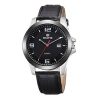 Men's Casual Round Dial Black Faux Leather Strap Calendar Wrist Watch