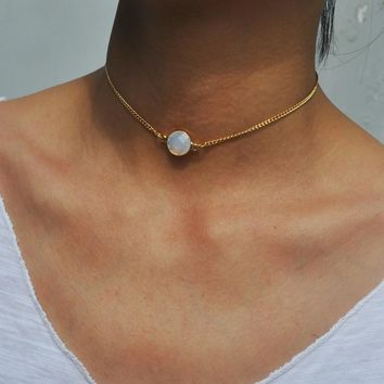 Simple Opal Stone Choker Necklace Gold Color Pendant Necklace for Women Jewelry Party Gift 171129
