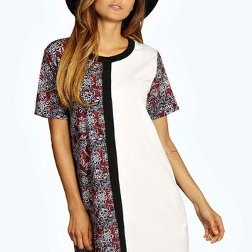 Izabella Contrast Print Mini Shift Dress