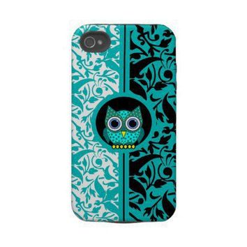 damask pattern with owl iPhone 4 case from Zazzle.com