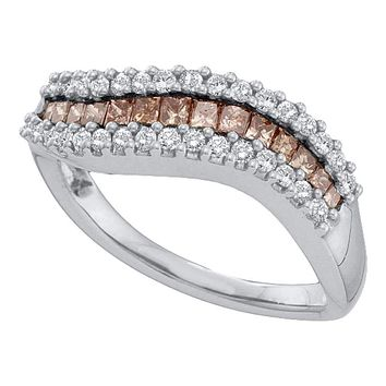 14kt White Gold Women's Princess Cognac-brown Color Enhanced Diamond Curved Band Ring 5/8 Cttw - FREE Shipping (US/CAN)