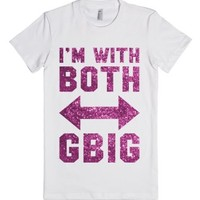 I'm With Both (Grandbig) (Sparkle)-Female White T-Shirt