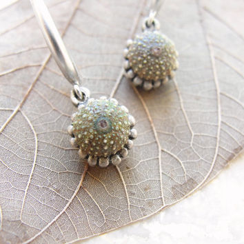 Mini Green Sea Urchin Earrings Silver plated