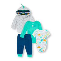 Baby Boys Dino Bright Hoodie Bodysuits And Pants 4-Piece Playwear Set