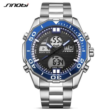 SINOBI dual display LED digital men's steel waterproof sports watch