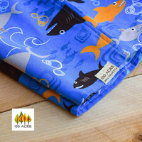 Shark shorts for girls or boys-  Cotton print sharks in blue orange and grey. Beach and pool wear for kids. Summer shorts for kids