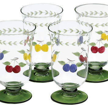 French Garden Iced Tea Glasses, Set of 4, Tumblers, Water & Juice