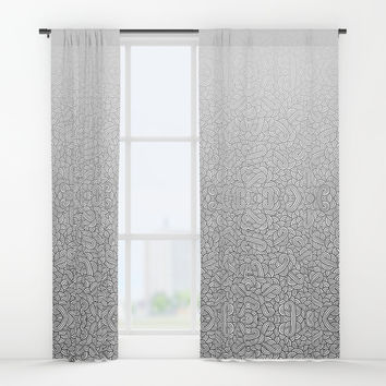 Gradient black and white swirls doodles Window Curtains by Savousepate