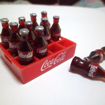 12 Coca Cola Bottles And TrayDollhouse miniature Food,Barbie Doll Collectibles