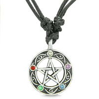 Amulet Pentacle Magic Star Celtic Knots Defense Powers Pewter Pendant Necklace