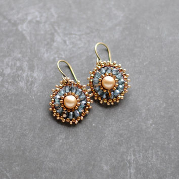 Beaded Pearl Earrings // Swarovski Dangle Earrings // Brick Stitch Earrings // Brass // Circle Drop Earrings // E052 by Indigo Lunch