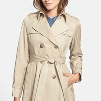 Petite Women's DKNY Double Breasted Trench Coat (Online Only)