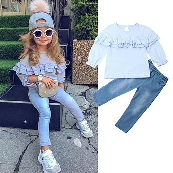 US Fashion Toddler Kids Baby Girls Shirt Top Denim Pants Jeans Outfits Clothes