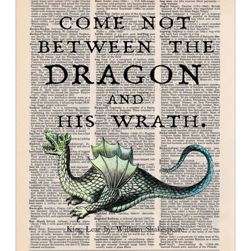 Dragon Art, King Lear Shakespeare Quote, Dictionary Print