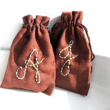 Personalized  Brown drawstring cotton linen pouches  Party favors, Bridesmaids jewelry gift, baby shower pouches Fabric gift bag