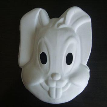 (100 pieces/lot) Blank White Rabbit Mask Art Project Cosplay Costume