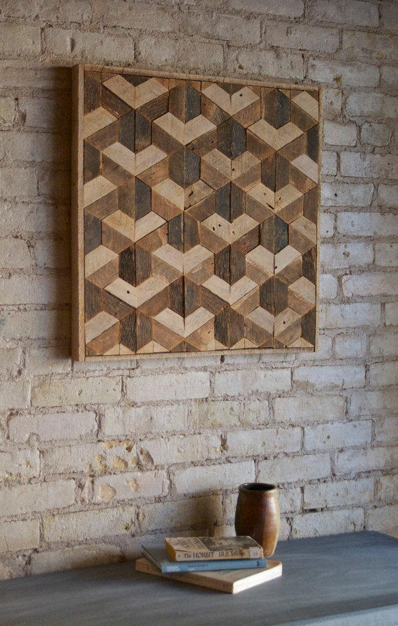 Reclaimed Wood Wall Art Decor Lath From