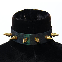 Green oil slick holographic spike choker collar gold gunmetal any color spikes