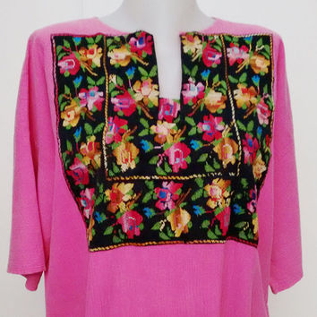 Vintage 80's Palestinian Bedouin embroidery Dress black pink Flowers Embroidery  Folk handmade Athletic dress free shipping