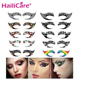 10 pairs Temporary Eye Tattoo Stickers Waterproof DIY Flash Disposable Eyeshadow Eyeliner Face Sticker Halloween Makeup Tool
