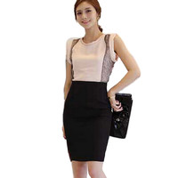 Fashion Women Slim Fitted Knee Length Straight Pencil Midi Skirt High Waist OL Career Skirts