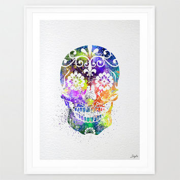 Sugar skull day of the dead watercolor illustration Art Print,Art Poster,Home Art Decor,Wall Hanging,Kids Art,Wedding,Birthday Gift, #257