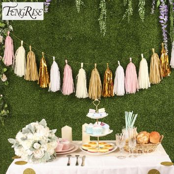 FENGRISE 5Pcs 35cm Tissue Paper Tassels Garland Wedding Decoration Birthday Baby Shower Party Home Paper Craft Supplies
