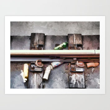 Bottles on the subway tracks Art Print by lanjee