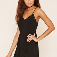 Lace-Trim Mini Dress