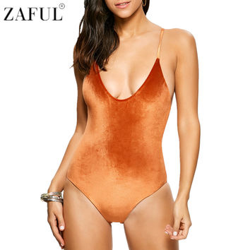 ZAFUL One Piece Swimsuit  Sexy Swimwear Women Bathing Suit Criss Back Reversible Pleuche Summer Beachwear Monokini Swimsuit