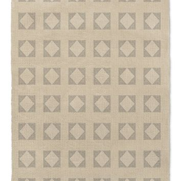 STRIPE DIAMOND BLOCK PRINT BEIGE Area Rug By Becky Bailey