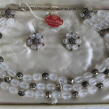1950's Princess Pride Bead Jewelry Set, Bridal Jewelry, Gift For Her