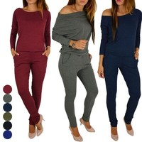 Strapless Sexy Casual Sport Tracksuit Autumn Winter Women Fashion Solid Jumpsuit Rompers New