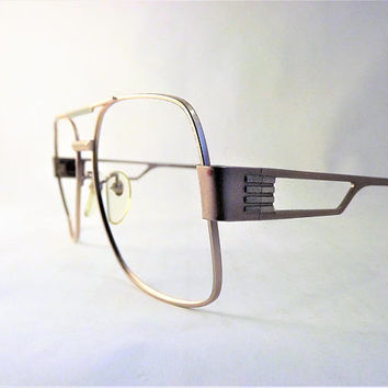 Mens Bronze Eyeglasses, Boxy Metal Aviator Frames, Vintage 1980s Square Glasses, Super Mod Double Bridge Eyewear, Big Mens Glasses, NOS