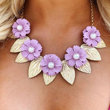 Brought Me Flowers Necklace: Gold/Multi