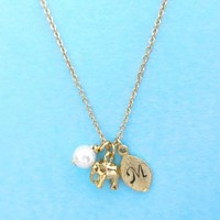 Personalized, Letter, Initial, Pearl, Gold, Silver, Elephant, Necklace