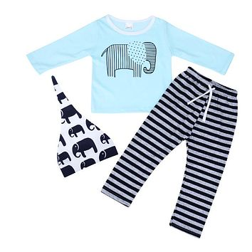 Newborn Casual Clothing Set Baby Kids Unisex Long Sleeve Elephant Print T-shirt + Stripe Pants + Hat Clothes for Boy Girl