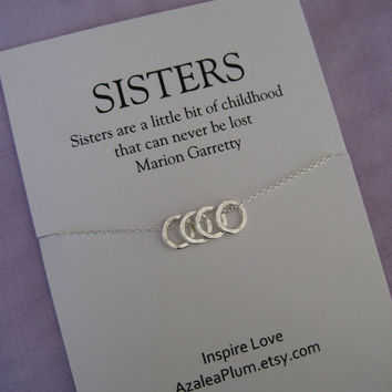 4 Sisters Necklace Four Sterling Silver Sister Gift Bridal
