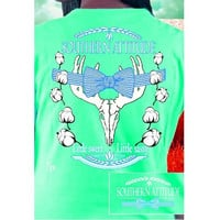 Country Life Outfitters Mint Southern Attitude Cotton Deer Skull Bow Hunt Vintage Bright T Shirt