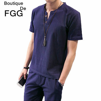 Size M-5XL Men's Fashion Tops & Tees Summer Breathable Linen Navy Blue T Shirts Short Sleeves V Neck Buttons Casual T-Shirts