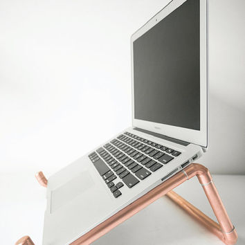 Copper Pipe Laptop Stand • Laptop & Notebook Stand • Desk • Copper Pipe • Laptop • Ergonomic • Macbook Stand • Gift