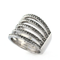 Vince Camuto Silver Tone and Crystal Multi Band Wide Ring