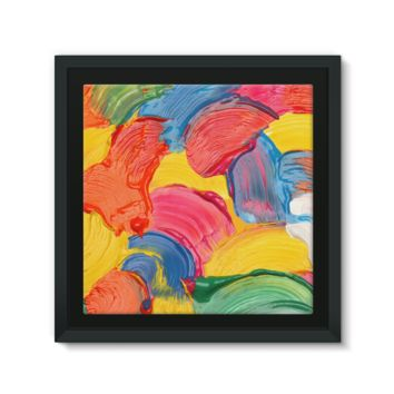 Multicolored Wet Paint Swirls Framed Canvas
