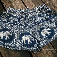 Elephant Print Ikat Boxers Exotic Summer Beach Shorts Blue Boho Tribal Clothing Aztec Ethnic Rayon Cute Comfy Women Thaicloth Thailand