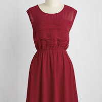 Mid-length Sleeveless A-line Vogue Wave Dress in Garnet
